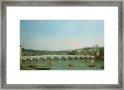 Westminster Bridge From The North With Lambeth Palace In Distance Framed Print by Canaletto