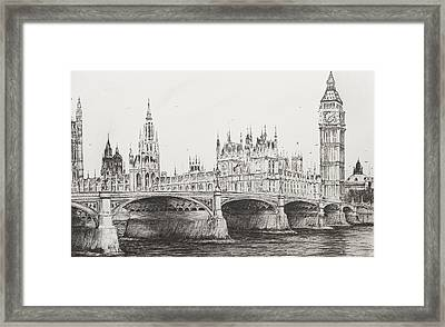 Westminster Bridge Framed Print by Vincent Alexander Booth