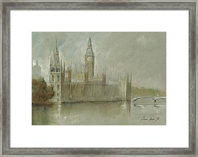 Westminster Palace And Big Ben London Framed Print by Juan Bosco