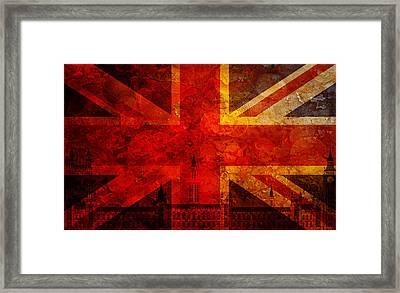 Westminster Palace Union Jack Flag Grunge Texture Background Framed Print
