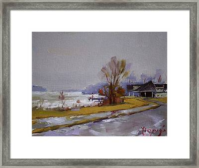 Wet And Icy At Gratwick Waterfront Park Framed Print