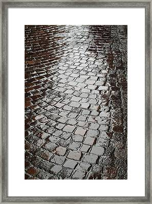 Framed Print featuring the photograph Wet Lucca Street by Michael Flood