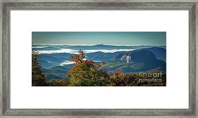 Wet Rock Sunrise Looking Glass Rock Blue Ridge Parkway Art Framed Print by Reid Callaway