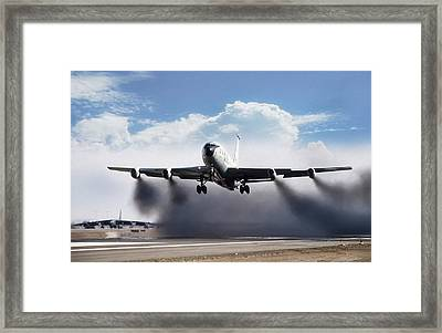 Wet Takeoff Kc-135 Framed Print by Peter Chilelli