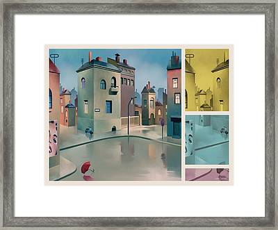 Wet Town Framed Print