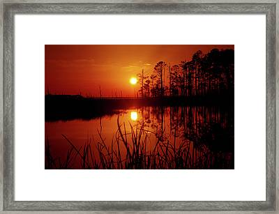 Framed Print featuring the photograph Wetland Sunset by Robert Geary