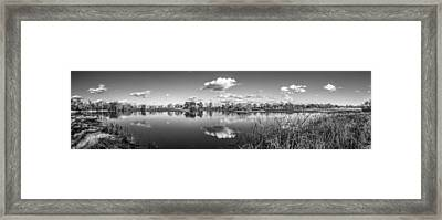 Wetlands Panorama Monochrome Framed Print