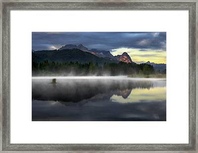 Wetterstein Mountain Reflection During Autumn Day With Morning Fog Over Geroldsee Lake, Bavarian Alps, Bavaria, Germany. Framed Print