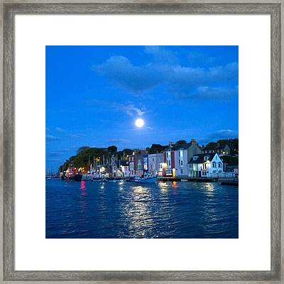 Weymouth Harbour, Full Moon Framed Print