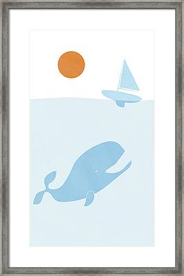 Whale And Boat Framed Print by Frank Tschakert