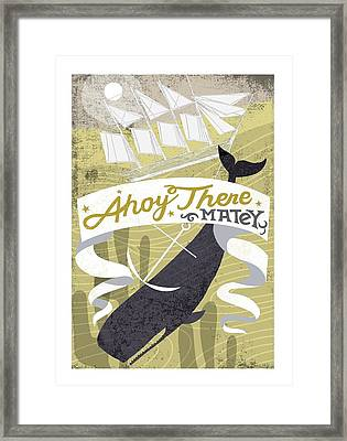 Whale Pulling Down Ship With The Anchor Framed Print