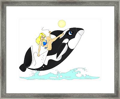 Framed Print featuring the painting Whale Rider by Lynn Rider