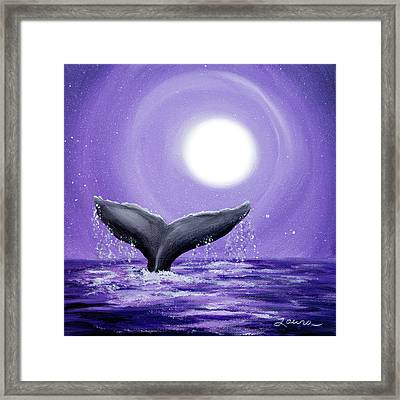 Whale Tail In Lavender Moonlight Framed Print by Laura Iverson