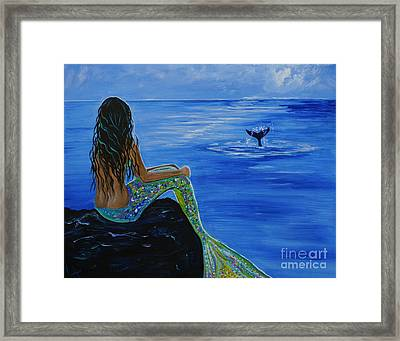 Whale Watcher Framed Print by Leslie Allen