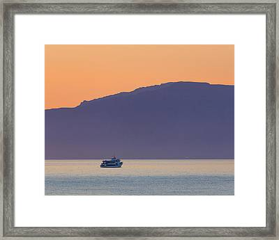 Whale Watching Boat Under The Midngight Framed Print by Panoramic Images