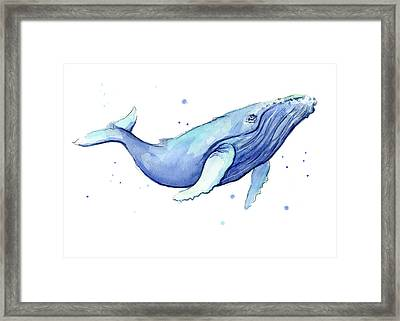 Whale Watercolor Humpback Framed Print by Olga Shvartsur