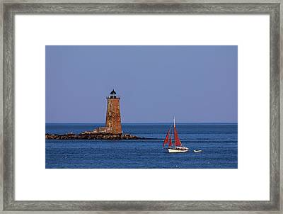 Framed Print featuring the photograph Whaleback Lighthouse And Sailboat by Juergen Roth