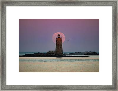 Whaleback Lighthouse Moonrise Framed Print