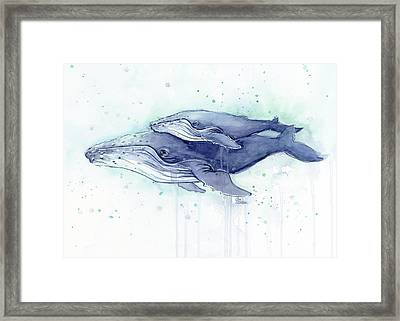 Whales Humpback Watercolor Mom And Baby Framed Print