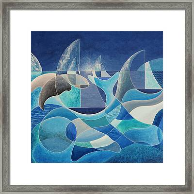 Whales In The Midnight Sun Framed Print by Douglas Pike
