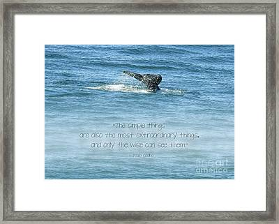 Framed Print featuring the photograph Whale's Tail by Peggy Hughes