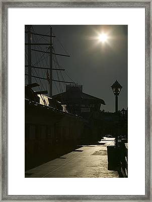 Wharf At Night Framed Print by Clyde Replogle