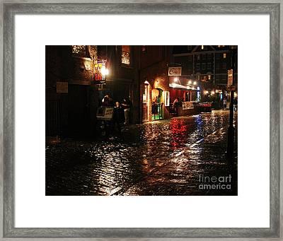 Whart Street In The Night Rain Framed Print by Maria Varnalis