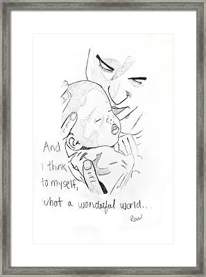 Framed Print featuring the drawing What A Wonderful World by Rebecca Wood
