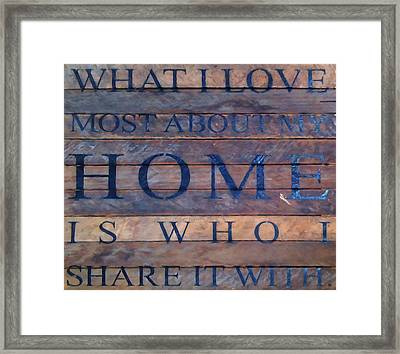 Framed Print featuring the digital art What I Love Most About My Home by Chris Flees