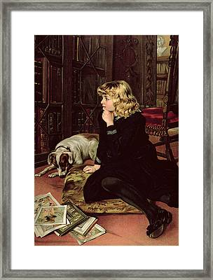 What Shall I Read Framed Print by Florence Marlowe