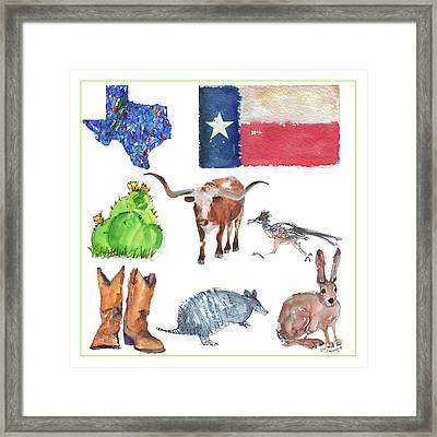 What Texas Loves, Texas Longhorn Watercolor Painting By Kmcelwaine Framed Print