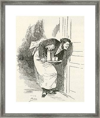 What The Butler Saw. A Waiter Spying Framed Print by Vintage Design Pics