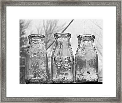 What The Milk Man Left, Bw Framed Print by Sandra Church