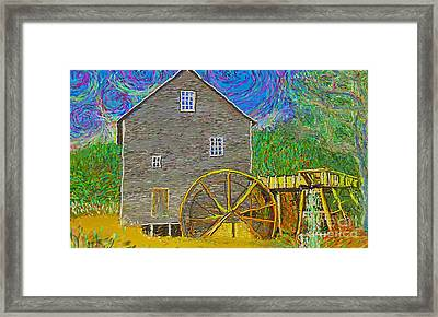 Framed Print featuring the painting Water Wheel  by Hidden Mountain