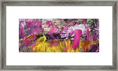 Whatever Makes You Happy - Large Pink And Yellow Abstract Painting Framed Print by Modern Art Prints