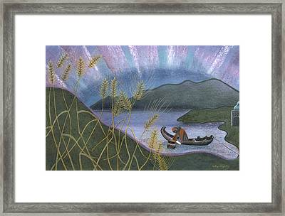 Wheat And Northern Lights Framed Print by Sally Appleby