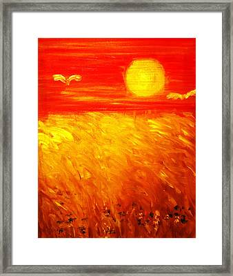 Framed Print featuring the painting Wheat Field by Evelina Popilian
