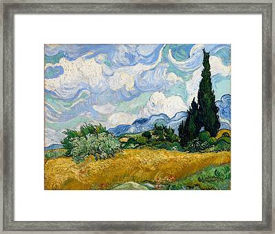 Framed Print featuring the painting Wheatfield With Cypresses by Van Gogh