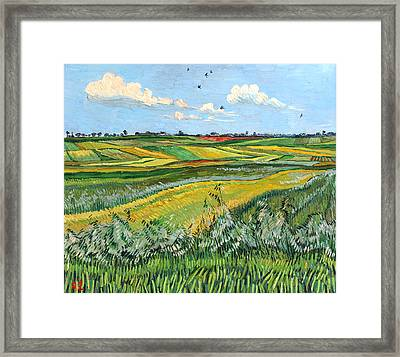 Wheat Fields And Clouds Framed Print by Vitali Komarov