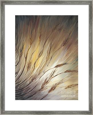 Wheat In The Wind Framed Print by Nadine Rippelmeyer