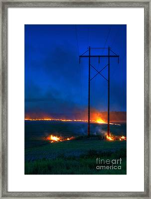 Wheat Stubble Burn Framed Print by Fred Lassmann