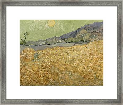 Wheatfield With Reaper Framed Print by Vincent Van Gogh