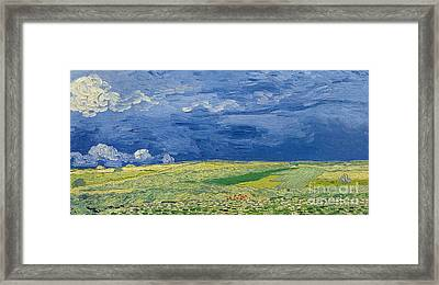 Wheatfields Under Thunderclouds Framed Print by Vincent Van Gogh