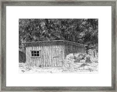 Wheel Farm Shed Framed Print
