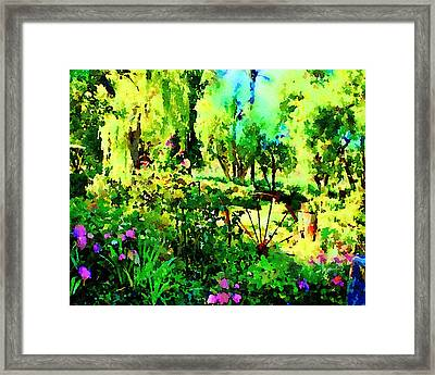 Framed Print featuring the painting Wheel Garden by Angela Treat Lyon