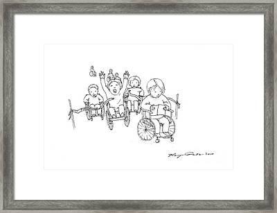 Wheelchair Race Framed Print by Benjamin Dunstan