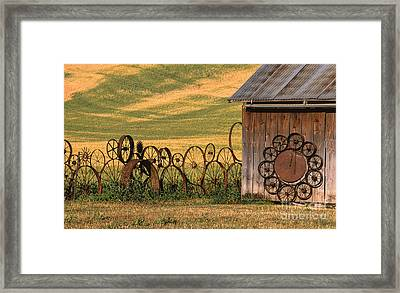 Wheels Of The Palouse Framed Print by Sandra Bronstein