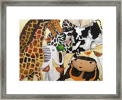 When Giraffes Were Big Framed Print by Yelena Revis