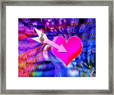 When Music Arrow Targeted Heart  Framed Print