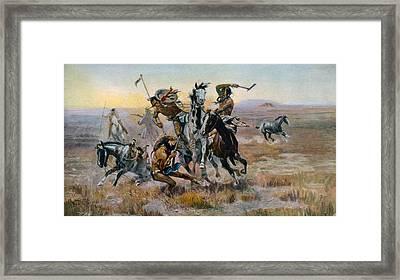 When Sioux And Blackfeet Met, Battle Framed Print by Everett